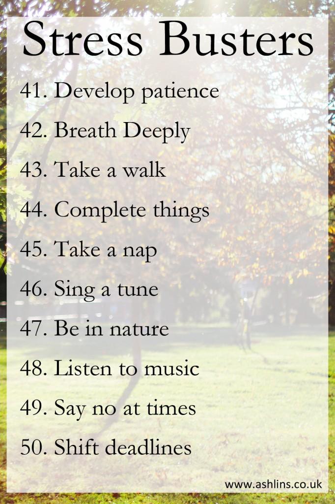 10 stress busting tips. Number 41-50