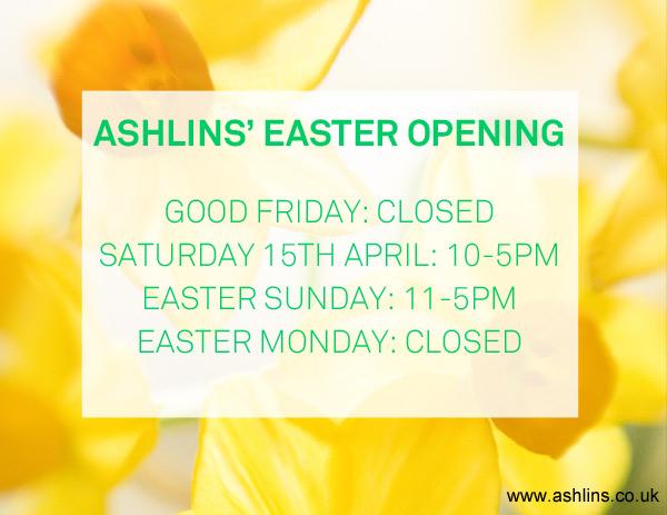 Ashlins' Easter Opening Hours 2017