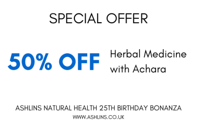 OFFER: 50% of herbal medicine with Achara. 27/5/19 – 9/6/19