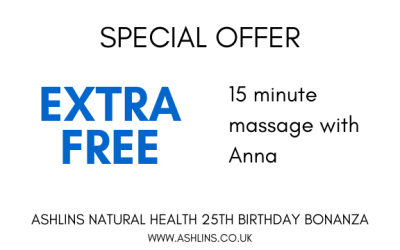 OFFER: 15 mins extra free massage with Anna, 3rd-16th June 2019