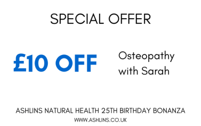 OFFER – £10 off Osteopathy with Sarah, 17th -30th June 2019