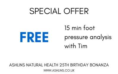 OFFER: Free 15 minute Foot pressure analysis with Tim, 13/5/19-26/5/19
