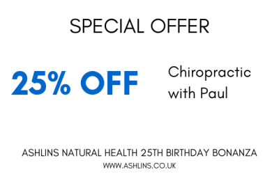OFFER: 25% off Chiropractic with Paul 16th-30th May 2019