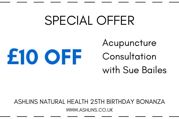 OFFER: £10 off Acupuncture consultations with Sue, 13th-26th May 2019