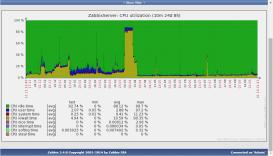 Загрузка процессора Zabbix сервера за 10 месяцев работы