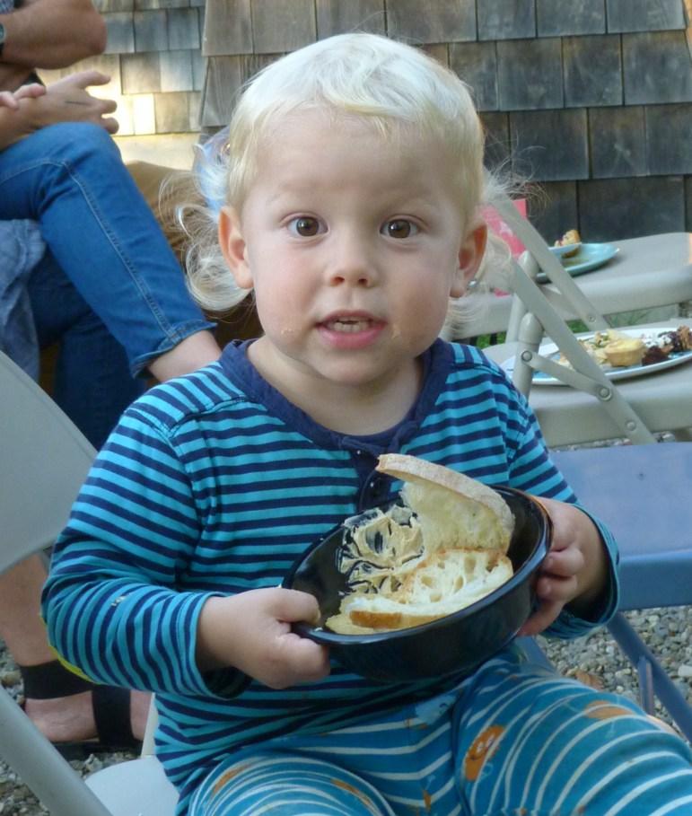 Hank enjoys the potluck.