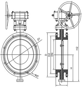 Flanged type three offset Butterfly valve