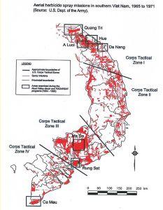 Mappa delle zone contaminate dall' Agente Arancio.