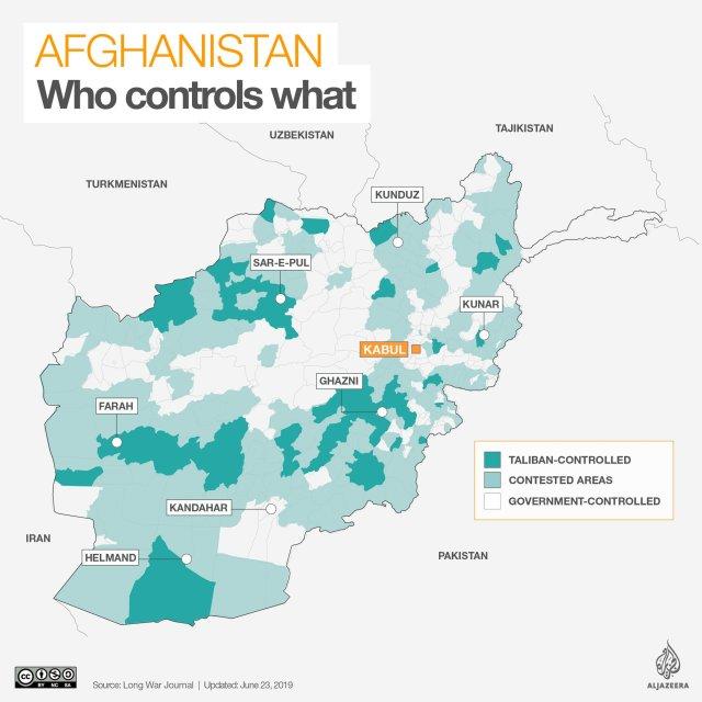 La situazione in Afghanistan a giugno 2019.