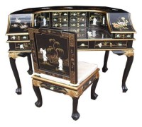 Chinese Black Desk & Chair
