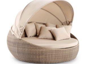 Outdoor Wicker Patio Daybed Synthetic Rattan