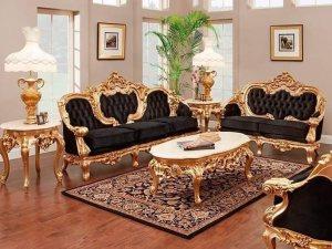 Set Kursi Sofa Black Mewah