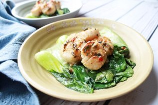 Seared Chili Scallops with Baby Bok Choy