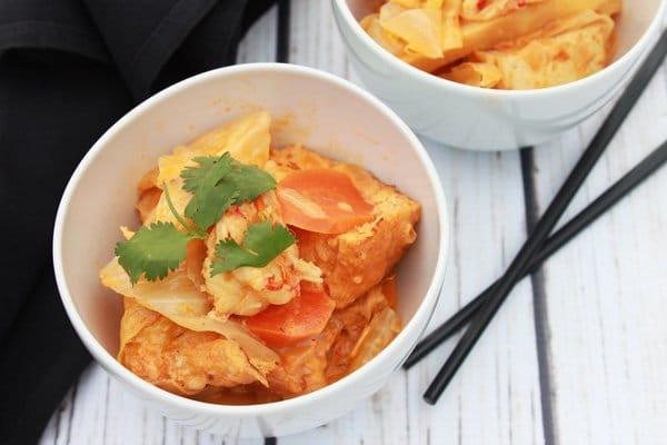 coconut curry tofu and shrimp