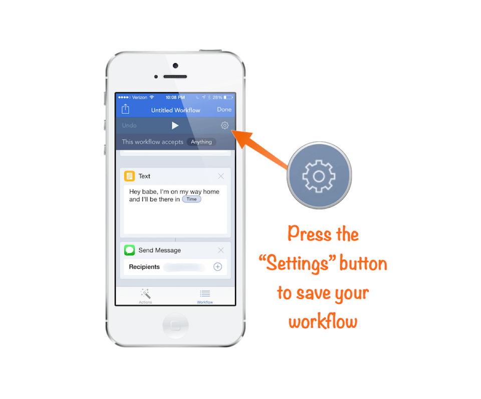 """Save your workflow by pressing the """"Settings"""" button"""