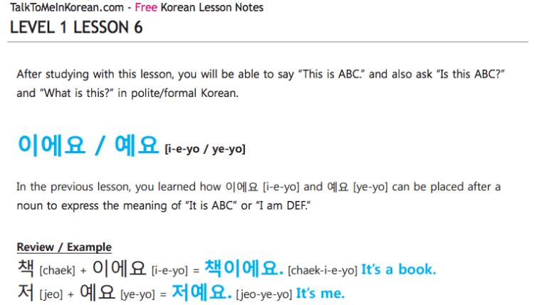 Talk To Me In Korean free PDF
