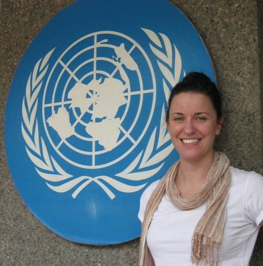 Erin at the United Nations Economic and Social Commission for Asia and the Pacific office in Delhi