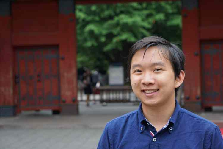 Clarence in front of the famous Akamon ('Red Gate') of Todai's main campus, Hongo - New Colombo Plan Scholarship to Japan