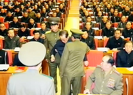 A picture issued by the North Korean State run media as the scene of the arrest of former Vice Chairman of National Defense Commission, Jang Song-thaek at the KWP Politburo expanded meeting. (PHOTO: A screen grab from KCTV.)