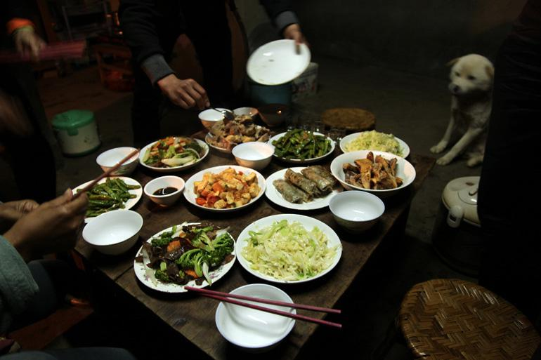 A traditional evening meal served at a homestay in Sapa
