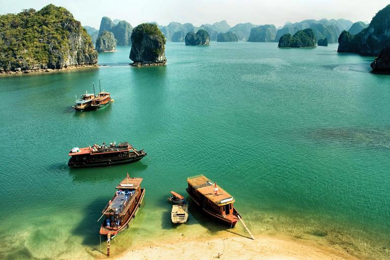 Halong Bay in northeastern Vietnam is a UNESCO World Heritage site.