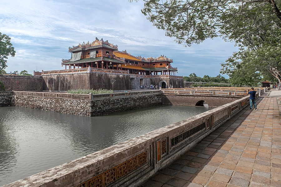 Tourists visit the Nguyen Dynasty