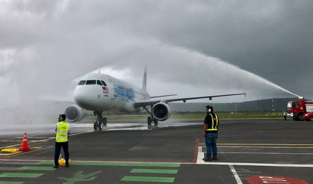 AirAsia has launched four flights per week between Kuala Lumpur and Sihanoukville, Cambodia. The inaugural flight was welcomed with a traditional a water cannon salute.