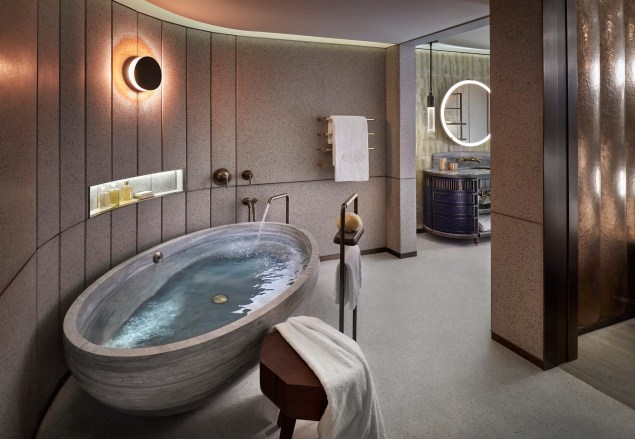 Bathroom in the brand new 2,250-sqf Entertainment Suite at The Landmark Mandarin Oriental, Hong Kong