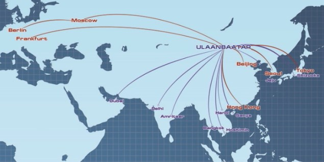 MIAT Mongolian Airlines' route map