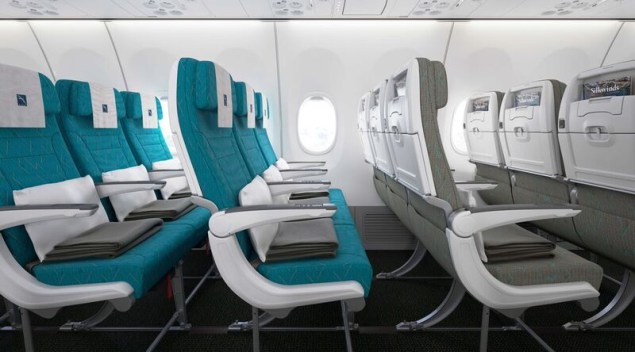 Economy Class seats on SilkAir's brand new Boeing 737 MAX 8. Click to enlarge.