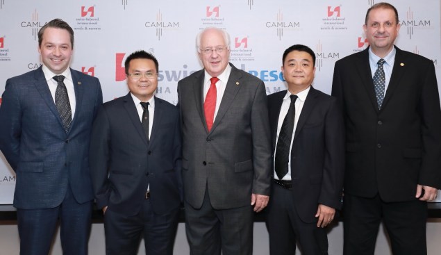 From left to right: Mr. Edward J.L. Faull – Vice President – Group Technical Services and Projects - Swiss-Belhotel International, Mr. Vu Duc Toan - Board Member, Owning Company, Mr. Gavin M. Faull, Chairman and President - Swiss-Belhotel International, Mr. Kieu Xuan Nam - Board Member, Owning Company, Mr. Emmanuel Guillard, Senior Vice President – Operations and Development – Indonesia, Malaysia and Vietnam