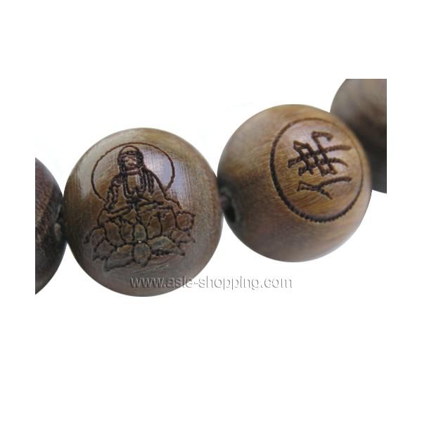 Bracelet Bouddhiste Mala Grav Avec Bouddha En Bois De Vie
