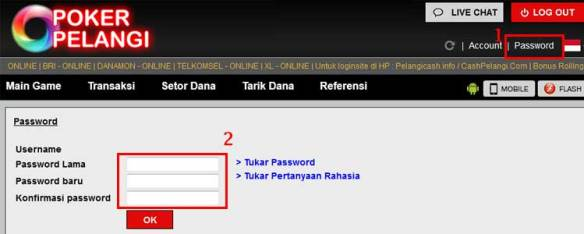 cara ganti password pokerpelangi