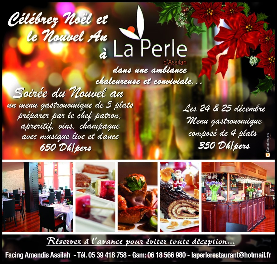 Christmas & NYE at La Perle Restaurant, Asilah