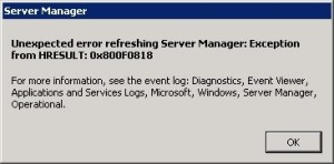 1 Unexpected error refreshing server manager