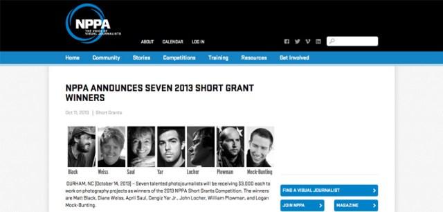 NPPA Announces Seven 2013 Short Grant Winners   NPPA
