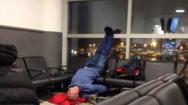 sleeping in the airport