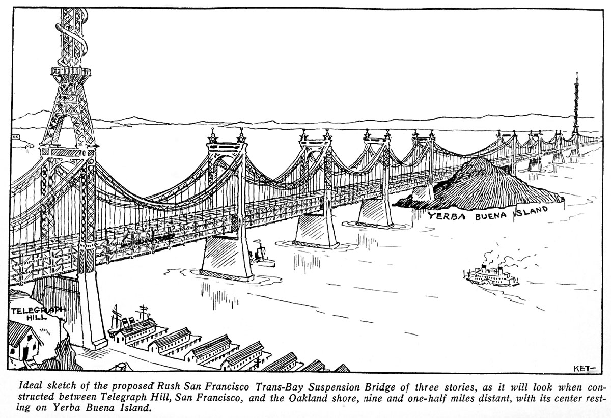 0 Sketch drawing of proposed Trans Bay Suspension Bridge
