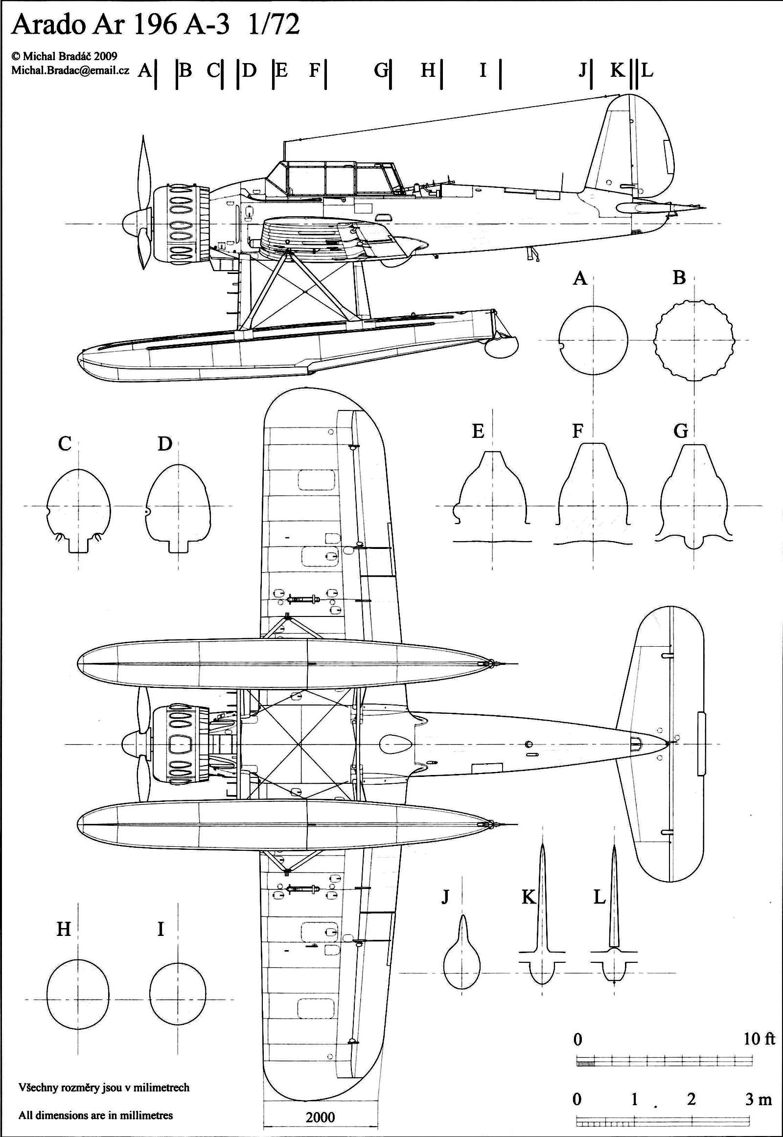 Aircraft technical drawing of Arado Ar 196A3 in 1.72 scale