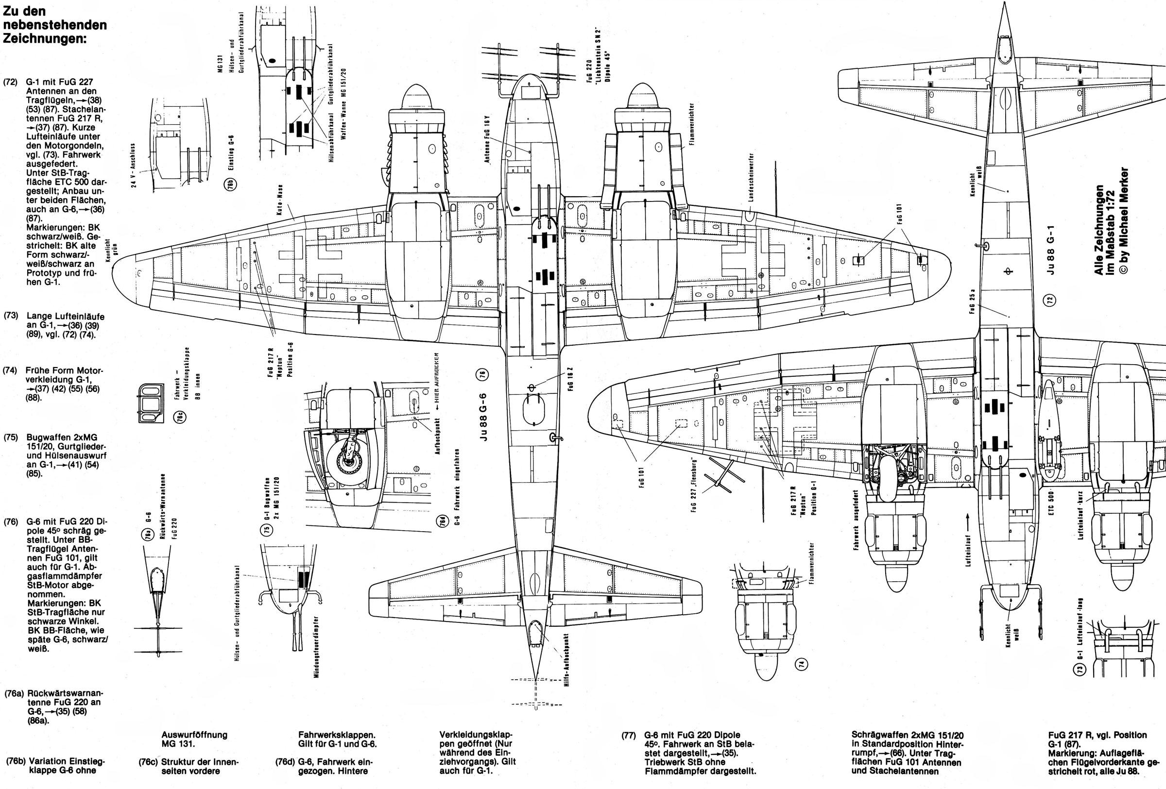 Artwork technical drawing Junkers Ju 88 cutaway 0B
