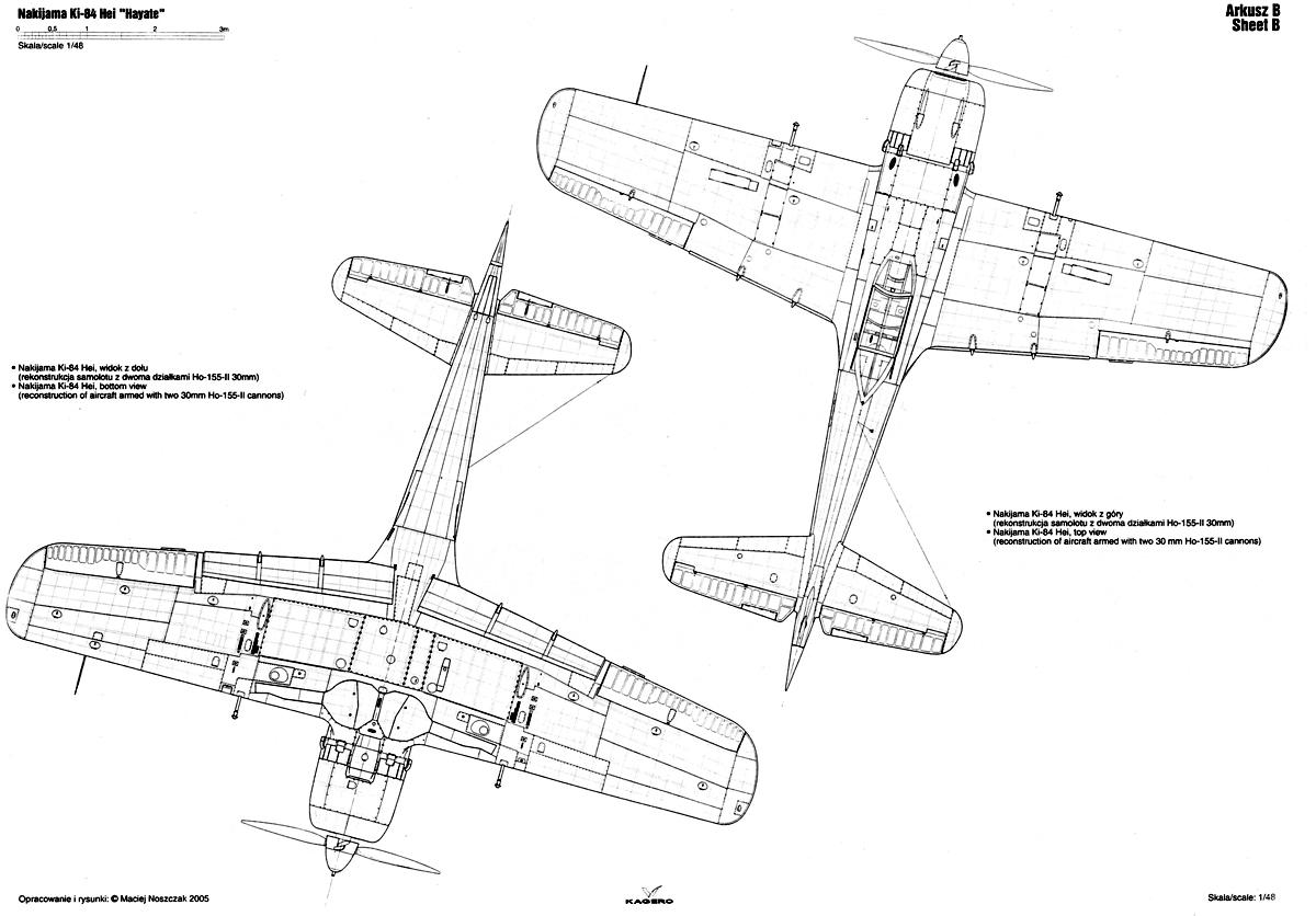 Asisbiz Artwork Nakajima Ki 84 Hayate Hei Technical Drawing 1 48 Scale 0c