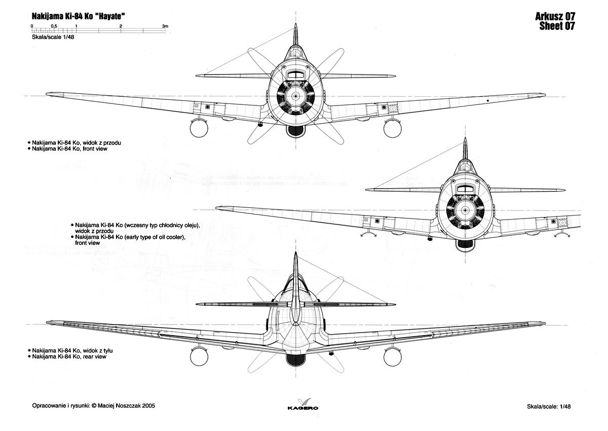 Asisbiz Artwork Nakajima Ki 84 Hayate Ko Technical Drawing