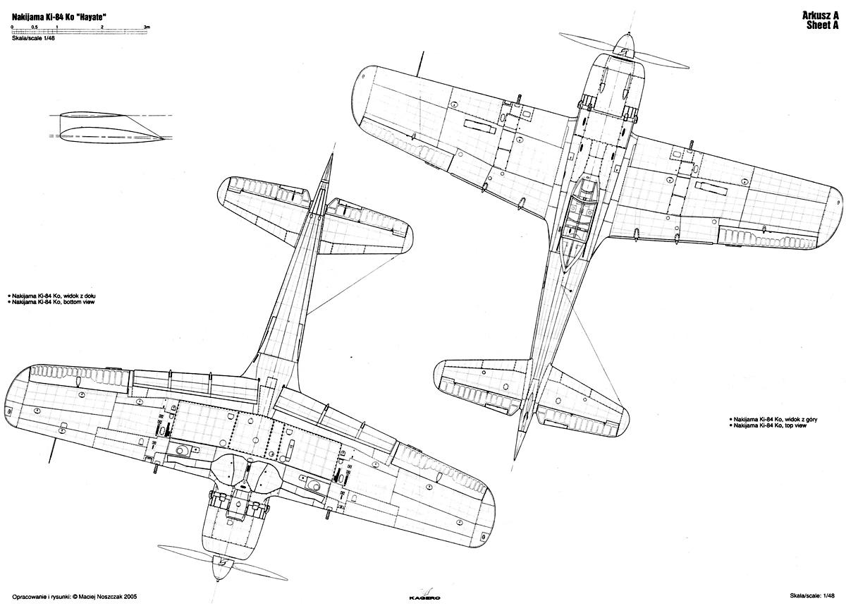 Asisbiz Artwork Nakajima Ki 84 Hayate Ko Technical Drawing 1 48 Scale 0f