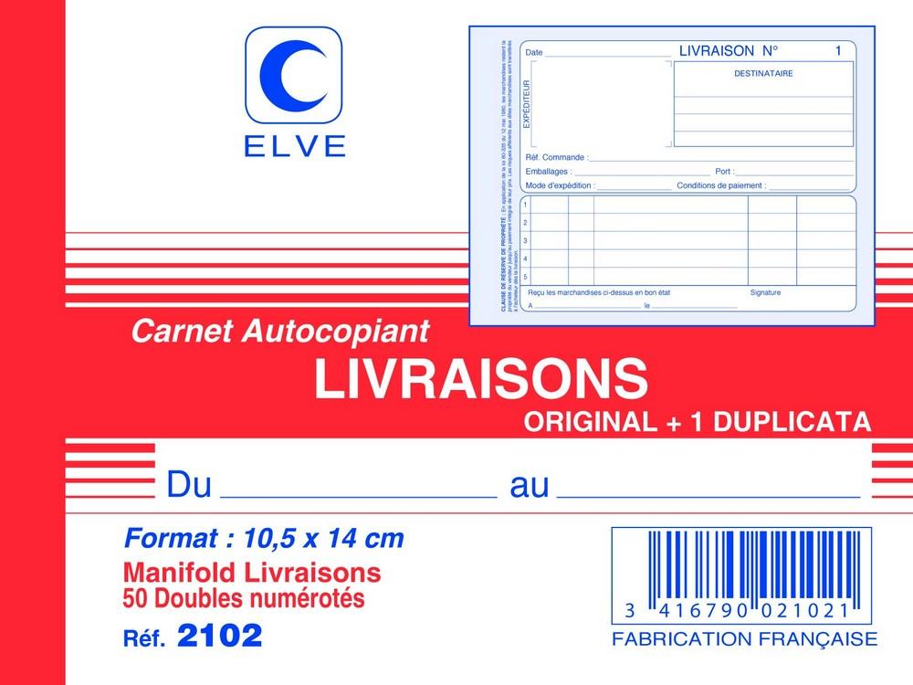 LIVRAISON 140 X 105 Mm Carnet Autocopiant Dupli ELVE