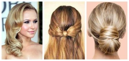 Penteados da noite em cabelo médio: foto