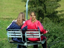 Two Friends on Chair Lift
