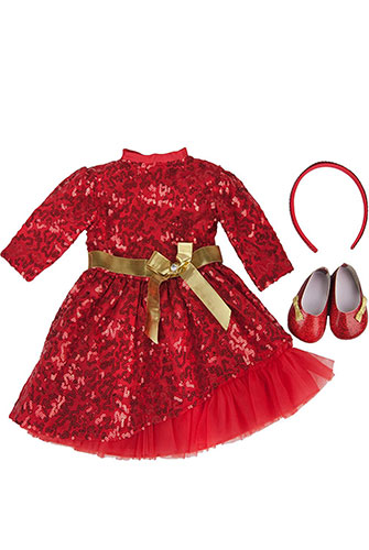 doll clothes red dress