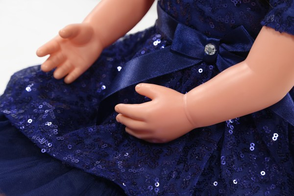 ask amy doll brunette blue sparkle dress