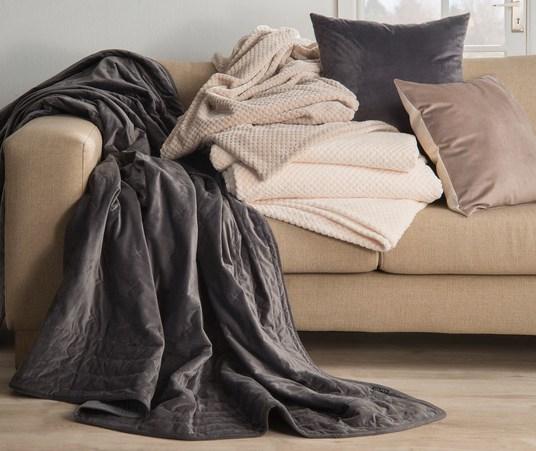 Elias velvet throw & Darius waffle blanket and velvet scatters