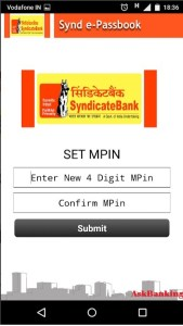 Create MPIN for Synd e-passbook Application